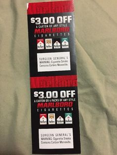 Coupons: 2 Marlboro Coupons $3.00 Off A Carton Or 4 Packs . Save $6.00 . Exp. 4/30/2017. BUY IT NOW ONLY: $2.5