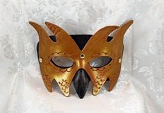 Leather Goblin Mask Black Bronze Gold Leather Imp Goblin  #makersonhudson