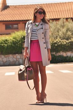 striped top with high-waisted skirt, nude heels and beige trench coat