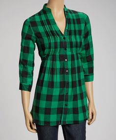 Green & Black Buffalo Check Three-Quarter Sleeve Top | zulily - like the tucks