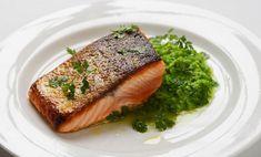 Crispy Skin Salmon with Pea Puree..yum, dinner