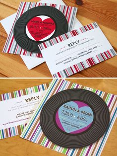 Vinyl Record Music Wedding Invitations. soo cute! Repinned by vipweddingsaver.com