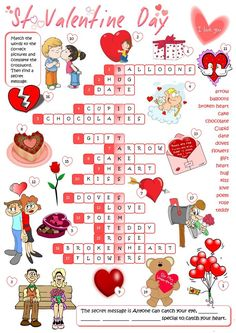 A crossword on St Valentine vocabulary. Mickey Coloring Pages, Valentine Coloring Pages, Spring Coloring Pages, Valentine Decorations, Valentine Crafts, Valentines Day, Kitty Party Games, Kitty Games, Fall Crafts For Kids