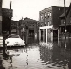 The flood of August 19, 1955 due to Hurricane Diane.This is on Northampton Street toward Second Street, 2 bay gate at Bethlehem Steel.