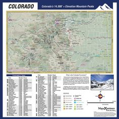 Colorado 14ers Microfiber Map This map includes all of Colorados 14,000 peaks.   Our Handy Map Micro Fiber cloths are large (18″ x 18″) and fold