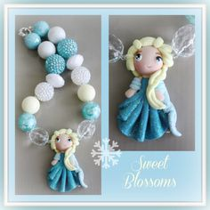Elsa chunky bead necklace polymer clay by SweetBlossomsShop, $25.00