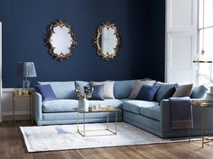 Aissa medium corner sofa in Lagoon brushed linen cotton, £2,700