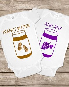 Peanut Butter and Jelly Twin Funny Onesie Bodysuit Gift Set Twins PB and J Onsy Boy Girl Baby Shower Gift on Etsy, $30.00