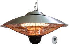 Terrassevarmer Orion 2100W med integrert regulator og fjernkontroll. Perfekt for bruk på uteplasser med tak over.