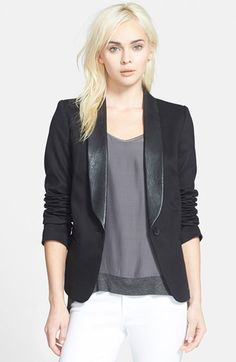 James Jeans Faux Leather Lapel Ponte Blazer   Nordstrom {$273} Faux leather trim takes this classic black blazer and gives it a little edge for my style. Always an easy go-to!