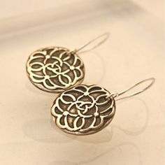 Celtic Knot Silver Circle Earrings by PamHurst on Etsy, $35.00