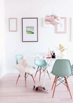 Modern Dining Room With Green Chairs