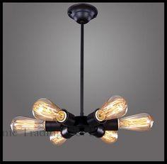 79.90$  Buy here - http://aliswl.worldwells.pw/go.php?t=32365584832 - 110V - 240V AC 6 Lights metal Pendant Lights industrial vintage retro creative pendant lighting luminarias home decoration