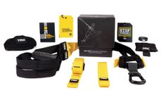 TRX Door Anchor that allows you to set up the Suspension Trainer on any sturdy door  for convenient at home training   TRX Suspension Anchor which can be set up both indoors and outdoors so you can add variety to your workouts Extender Strap that accommodates clients of all shapes and sizes, making it easy for anyone to use the TRX Suspension Kit on oversized anchor points and doorways.http://trx-products.co.uk/specials/trx-suspension-trainer-pro-kit.html