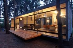 Casa Cher is an incredible concrete and glass home in the forest of Mar Azul, Argentina, designed by BAK Architects. The residence is a holiday home for … Modern Lake House, Modern Cottage, Concrete Houses, Forest House, House In The Woods, Simple House, Home Fashion, Modern Architecture, Building Architecture