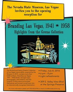 Branding Las Vegas, 1941 - 1958: Highlights from the Greeno Collection - http://fullofevents.com/lasvegas/event/branding-las-vegas-1941-1958-highlights-from-the-greeno-collection/