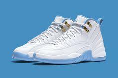 Air Jordan 12 GS White Metallic Gold University Blue Release Date. New Jordans 12, Cheap Jordans, Nike Air Jordans, Blue Sneakers, Kids Sneakers, Sneakers Nike, Custom Made Jordans, Jordan 12 White, Reebok