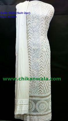 Chikankari suit with mukaish work,  For orders whatsapp at +91-7408242361