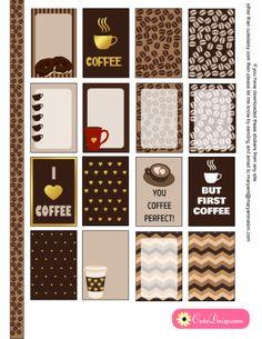 Gratuites imprimables café à thème Planificateur Autocollants pour planificateur Heureux