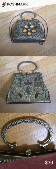 Beautiful sequined women's purse Beautiful sequined women's purse. Used. Good condition. Metallic gold with gold, blue, green, pink, and purple sequins. Can be carried by the handle, or over the shoulder with the attached metallic strap. Approximately 9 inches across, 6 inches from top to bottom, and 3 inches wide across the bottom. Bags