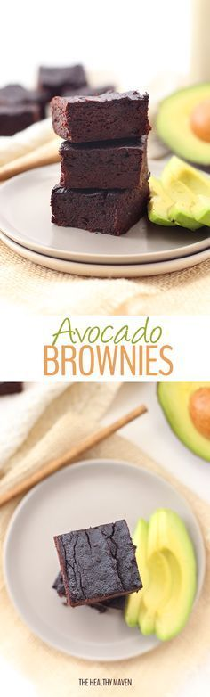 A healthy and delicious recipe for avocado brownies! Replace oil or butter with … A healthy and delicious recipe for avocado brownies! Replace oil or butter with heart-healthy avocados for a delicious and nutritious dessert. Healthy Deserts, Healthy Sweets, Healthy Dessert Recipes, Healthy Baking, Vegan Desserts, Just Desserts, Paleo Dessert, Healthy Snacks, Dessert Pizza