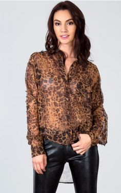 Back Cutout Blouse With Spiked Sleeves