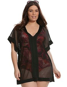 Sexy fishnet cover-up tops your beach day look with silky trim and a dramatic silhouette. Sheer to let your swim suit show through, it flatters with a V-neck and short sleeves. lanebryant.com