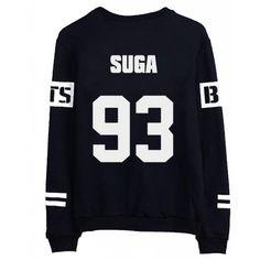 BTS Bangtan Boys V Sweater Shirt JIMIN JIN SUGA Shirt Jacket Pullover ($16) ❤ liked on Polyvore featuring bts, tops, sweaters, suga and sweatshirts