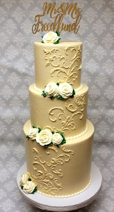 A beautiful example of hand done buttercream scroll work on a wedding cake Custom Cakes, Icing, Wedding Cakes, Urban, Creative, Desserts, Beautiful, Food, Personalized Cakes