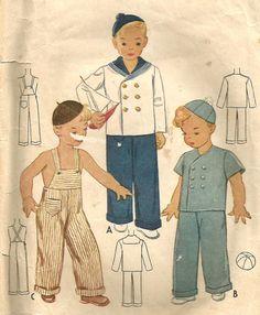Vintage 40s McCalls 3748 Boys Sailor Suit Overalls by RomasMaison