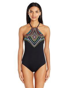317e9ce78fa Laundry by Shelli Segal Women s Antigua Dream Embroidered High Neck  Cross-Back One Piece Swimsuit