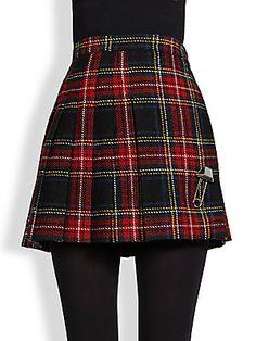 Saint Laurent Pleated Plaid Wool Mini Skirt