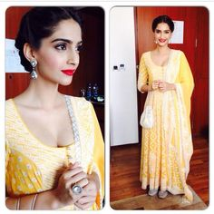 Sonam Kapoor dressed in a bright yellow anarkali by designer duo Abu Jani Sandeep Khosla while in Punjab.