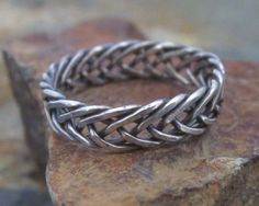 Sterling Silver Celtic Braided Ring - 6 Strand Braided Ring, looks like a fishtail Wire Rings, Wire Jewelry, Jewelry Art, Jewelry Rings, Silver Jewelry, Men's Jewellery, Celtic Knot Ring, Celtic Rings, Celtic Braid