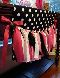 Pink, Black and White Fabric Tie Garland