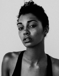 beautiful, black and white, and freckles image