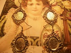 Antique Silver Tone Cameo Earrings Set   1 by TheEiffelTeaRoom, $3.00
