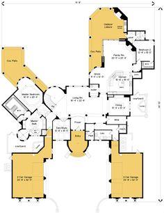 Plan W83401CL: Mediterranean Luxury with Outdoor Living Room (living room / outdoor area)