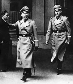 Heinrich Himmler followed by Reinhard Heydrich.  Though Hitler was, and remains, the public face of the Holocaust, these two men were the will and organization behind it.  As mentor and protege, they were responsible for the systematic murder of millions of human beings.  Heydrich, as cold and arrogant as only a true Nazi could be, was assassinated in 1942.  Himmler committed suicide in British custody in 1945 after turning traitor to the Reich and being refused pardon by the Allied powers.