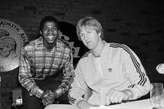 Magic Johnson left of Michigan State and Larry Bird of Indiana State attend a news conference on March 25 1979 in Salt Lake City for the NCAA college basketball championships. Ncaa Basketball Tournament, College Basketball, Ncaa College, Basketball Tickets, City College, Kentucky Basketball, Basketball Legends, Kentucky Wildcats, Basketball Shoes