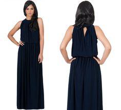 NEW Womens Navy Blue Sexy Sleeveless Halter Neck Cocktail Long Maxi Dress