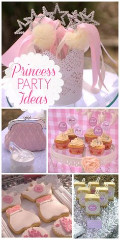 A pink and white princess girl birthday party with cookie stacks, princess cookies,  cupcakes and lollipops!  See more party ideas at CatchMyParty.com!
