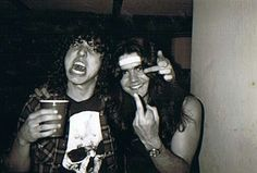 Chuck Schuldiner (Death) and Mike Torrao (Possessed) 1986--two founders of death metal