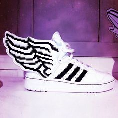 Pixelated Winged sneakers from Jeremy Scott for Adidas. Photo: Via @Cindy Clair News Instagram