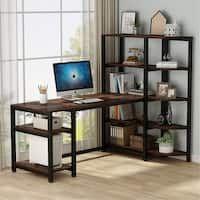 Shop Black Friday Deals on Carbon Loft Angband L-shaped Corner Computer Desk with Shelf - Overstock - 29204463 Large Office Desk, Large Computer Desk, Office Computer Desk, Home Office Desks, Gaming Desk, Computer Tables, Corner Bookshelves, Bookshelf Desk, Corner Desk