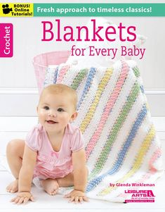 Blankets for Every Baby - Sweet gifts for a new arrival, the designs in Blankets for Every Baby have the timeless appeal of classic styles plus a fresh feel with updated colors and special details. Mom will love the bright pastels, and Baby will enjoy touching the 3-D flowers and all the nubby stitch patterns. Eight blankets by Glenda Winkleman to crochet using medium weight yarn: Confetti Stripes, Pathways, Color Blocks, Baby Bouquet, Four-Square Granny, Cross Stitch Hearts, Soft-Touch ...