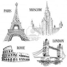 European cities symbols sketch: Paris (Eiffel Tower), London (London Bridge), Rome (Colosseum), Moscow (Lomonosov University)  Stock Photo