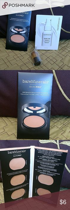 Bare minerals foundation sampler Bare minerals foundation sampler with Primetime foundation primer and a mini brush. Great for traveling or finding that perfect shade. New, sealed in package. bareMinerals Makeup Foundation