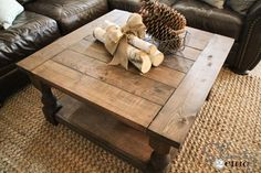 Bundle of wood & pine cones! DIY-Square-Coffee-Table