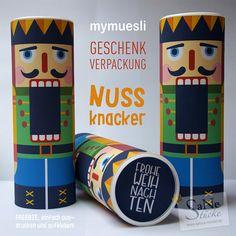 Freebie Nussknacker mymuesli Geschenk-Verpackung für Weihnachten von SaNe-Stücke. #upcycling #mymuesli #DIY